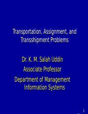 transportation and Assignment problem ppt - Transportation