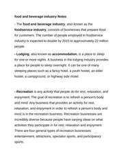 food and beverage industry Notes