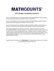 Chapter ~ 2014 Solutions » MathCounts