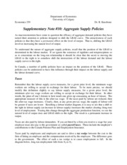 Supplementary Note #10, Aggregate Supply Policies