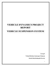 VEHICLE DYNAMICS PROJECT REPORT