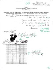 Algebra Test Review on graphing functions
