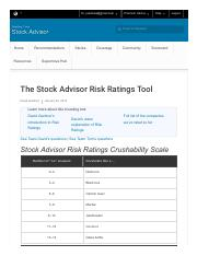 The Stock Advisor Risk Ratings Tool - Motley Fool Stock Advisor