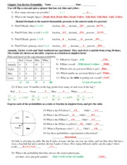 Chapter Test Review Probability 2012 - Key