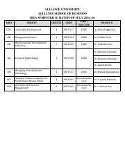 MBA July 2014-16 Batch, Semester II, Finance B Schedule