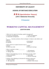 BBA - VI Sem (Specialization - Finance) -Working Capital Management