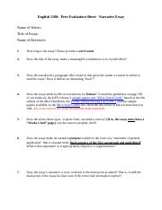 ENGL 1100 (S18) - Summer 2020 - Narrative Essay Peer Evaluation Sheet.docx