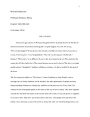Michelle Robinson fiction essay eng102