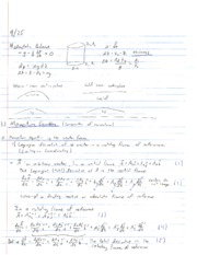 Momentum, Motoin, & Scale Analysis Lecture Notes