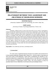 [23445416 - Studies in Business and Economics] Relationship between Toxic Leadership and Job Stress