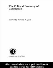 CORRUPTION The political economy of corruption
