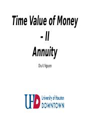 Time Value of Money - II