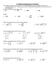 Radical expressions & Rational Exponents Problem Set