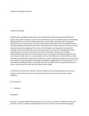 Cognitive Psychology essay Essay