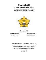 Cover Makalah Docx Makalah Administrasi Dan Opersional Bank Disusun Oleh Maina Farsyiah 1701002030006 Alfia Prima Mulia 1701002030007 Universitas Course Hero