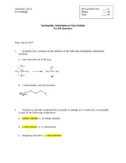Chem 2411 Nucleophilic Substitution Prelab