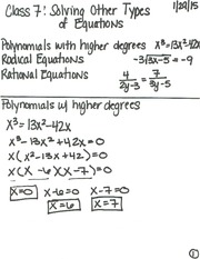 Class 7 Notes (Solving Other Equations)