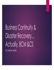 1. Business Continuity  Disaster Recovery Overview