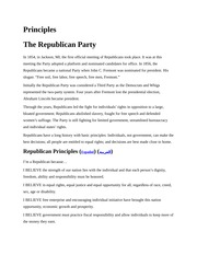 Notes on Republican Party Principles