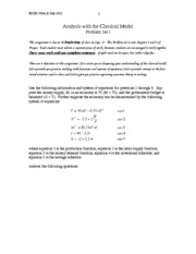 Analysis with the Classical Model Problem Set I Solutions