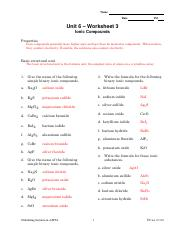 Chemistry Unit 4 Worksheet 3 - Language Worksheet Pictures ...