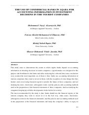 The Use of Commercial Banks in Aqaba for Accounting Information in Investment Decisions in The Touri