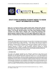 WHAT EVERY BUSINESS STUDENT NEEDS TO KNOW