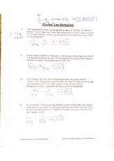 Worksheets for Chales Boyle and Dalton's Laws