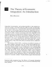 Theory of Economic Integration (Belassa)