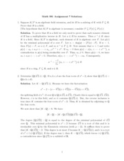 Assignment 7 Solutions