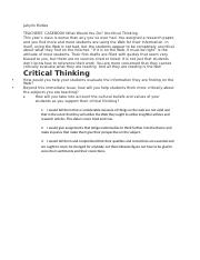 JEM TEACHERS CASEBOOK What Would Y ou Do Uncritical  Thinking