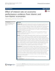Effect of interest rate on economic performance- evidence from Islamic and non-Islamic economies.pd