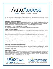 AutoAccess FAQ_UMKC pdf - AutoAccess UMKC Digital Content