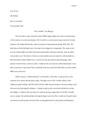 Intro to lit- The Crucible essay