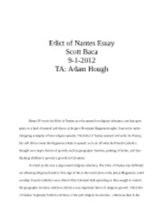 Edict of Nantes Essay Scott Baca