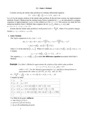 Lecture Notes on Euler Method