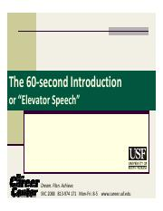 Elev. Speech - 60 second intro