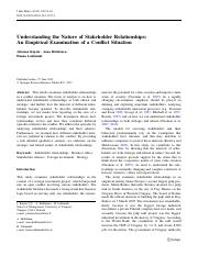 (KHL) Understanding the nature of stakeholder relationships_An empirical examination of a conflict s