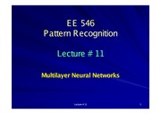 EE546_L11 - Multilayer Neural Networks