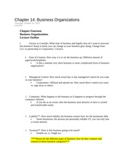 Chapter 14 Business Organizations