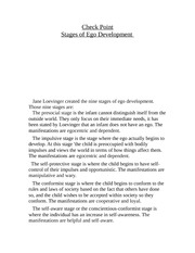 jane loevingers stages of ego development essay The stages of ego development according to jane loevinger is implicated to be ways to understanding, comprehending, and organizing of a person's life experiences (mcadams, 2006.