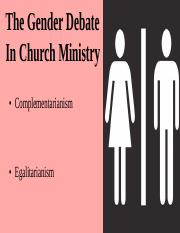 Lecture 31- Women in Ministry