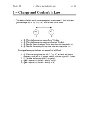 "1 â€"" Charge and Coulomb's Law"