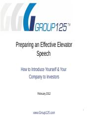 Group125 60 Second Elevator Speech 021412 v4.pptx