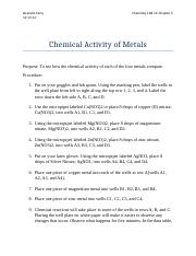 Chemical Activity of Metals LAB DC