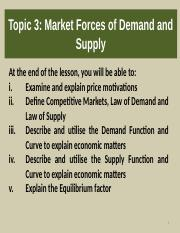 T4 Market forces of demand and    supply