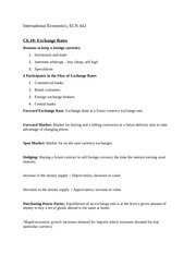 Chapter 10: Exchange Rates Notes