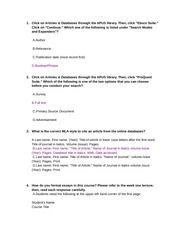 Engl102 Mla Quiz Week 1 1 Click On Articles Databases Through The