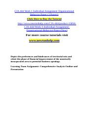 CJA 444 Week 1 Individual Assignment Organizational Behavior Paper (3 Papers).doc