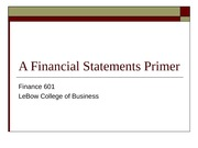 Financial Statements Primer to post